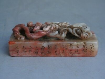 Chinese Exquisite Hand-carved Dragon carving Shoushan Stone seal statue