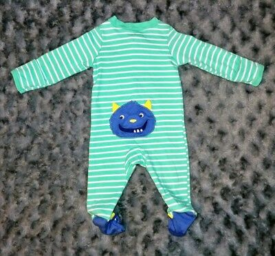EUC Carters Baby Boy Clothes Newborn One Piece Monster Footie Pajama Sleeper