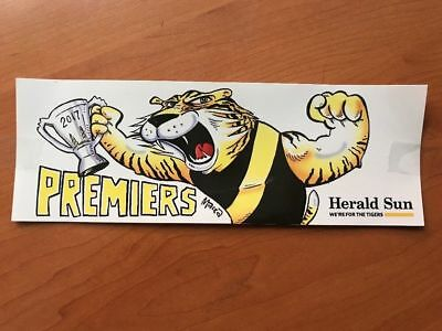 2017 AFL RICHMOND TIGERS PREMIERSHIP PREMIERS STICKER herald sun