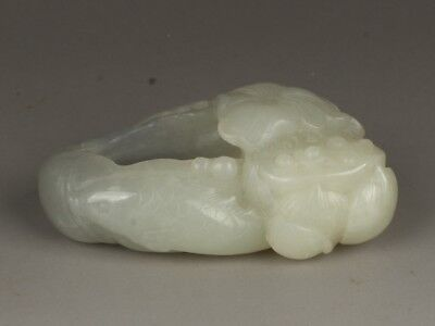 Chinese Exquisite Hand-carved Lotus carving Hetian jade Pen wash