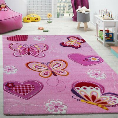Children Pink Rug Buttefly Design Soft Carpet Girls Nursery Bedroom Play Mat