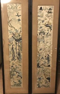 Two Antique Chinese Hand Embroidery Silks In Frame Silk