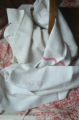 4 classic French linen red striped torchons or towels, some monogrammed