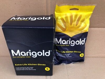 6 Pairs SMALL MARIGOLD Kitchen Rubber Gloves ExtraLife Household Triple Layered