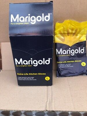 6 Pairs LARGE MARIGOLD Kitchen Rubber Gloves ExtraLife Household Triple Layered