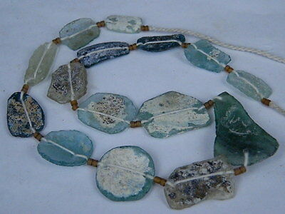 "Ancient Roman Glass Fragments Beads Strand C.200 Bc  """"k721"""""