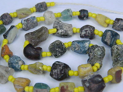 "Ancient Roman Glass Fragments Beads Strand C.200 Bc   """"k717"""""