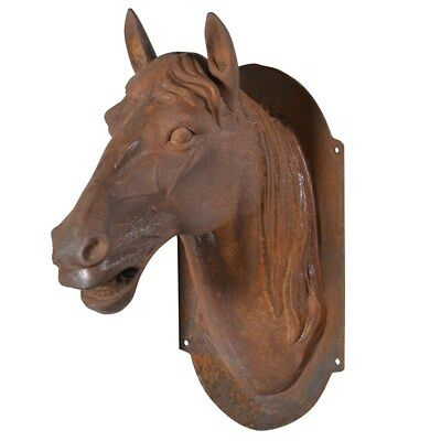 Large Cast Iron Wall Mounted Horse Head Bust Sculpture