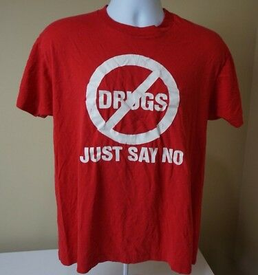 Vintage 80s 50/50 Screen Stars Just Say No to Drugs Red T-Shirt Men's XL Dare