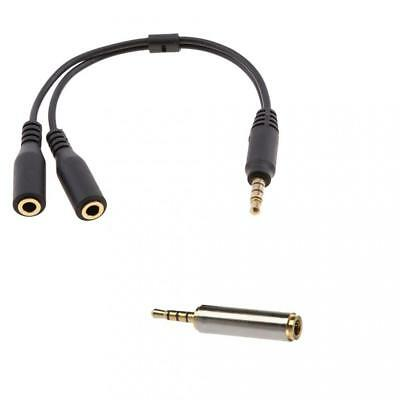 2.5mm to 3.5mm Male to Female Adapter and 3.5mm Splitter Mic And Audio Cable