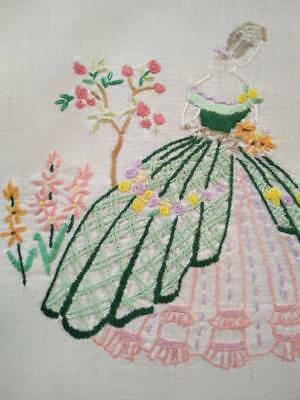 Gorgeous Crinoline Lady & Cottage Garden   ~ Vintage Hand Embroidered Picture Pa