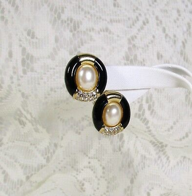 3 DAYS ONLY~DIOR Vtg Black Enamel-Crystal-Faux Pearl Gold-Tone Clip Earrings EUC