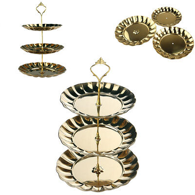 3 Tier Gold Stainless Steel Cake Dessert Cupcake Plate Stand Tea Party Serving