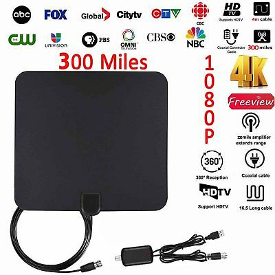 1080P HD Digital Indoor Amplified TV Antenna HDTV with Amplifier 300Mile VHF/UHF