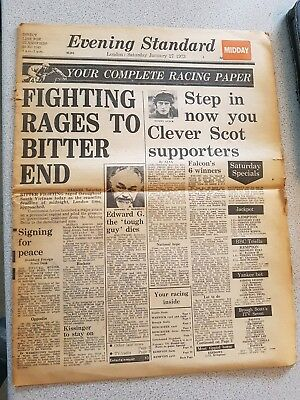 The Evening Standard Newspaper 27 january 1973 (Vietnam ceasefire)