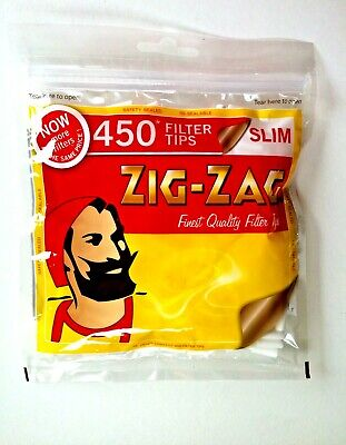 4 Bags X 450 ZIG ZAG SLIM Cigarette Filter Tips Resealable Bag