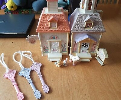 fisher price precious places doll house chapel and stable with keys and figures