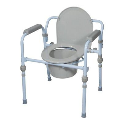 Folding Bedside Commode Seat With Commode Bucket & Splash Guard Powder Blue New