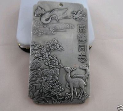 """Old Chinese""""Deer Crane and spring"""" tibet Silver Bullion thanka amulet"""