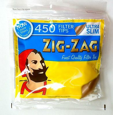4 Bags  X 450 ZIG ZAG ULTRA SLIM FILTER TIPS 5MM RESEALABLE BAG  1800 TIPS