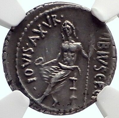 Roman Republic 48BC Rome Authentic Ancient Silver Coin PAN JUPITER NGC i68927