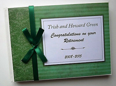 Personalised Green Retirement/wedding/gift Guest Book - Any Colour