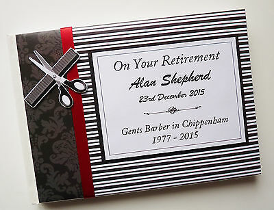 Personalised Barber Retirement/wedding/gift Guest Book - Any Colour