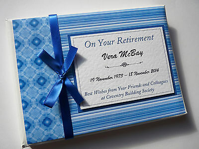 Personalised Blue Retirement/wedding/gift Guest Book - Any Colour
