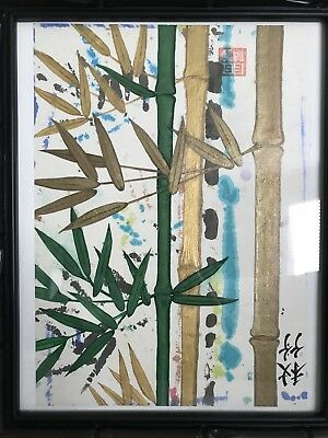 Vintage Bamboo Painting Signed Stamped