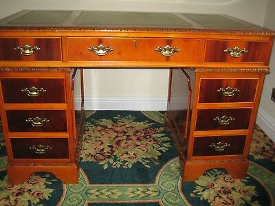 Writing Desk .Antique reproduction yew wood pedestal desk 48ins wide