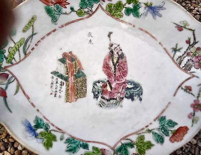 Antique Qing  Chinese Porcelain Famille Rose Lozenge Shaped Footed Dish