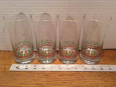 Holly Berry Swirl Arby's Christmas Collection Drink Glasses Tumblers 1987 Lot 4