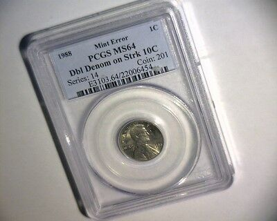1988 Lincoln Cent On A Struck Dime Double Denomination >Pcgs Ms64< Us Error Coin