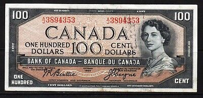 "Canada - 1954 Bank of Canada 100 Dollar Banknote P82a VF+++ ""DEVIL'S FACE"""