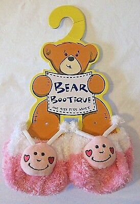 Build-a-Bear Workshop Bootique Love Bug Slippers Pink Soft Fuzzy Shoes New