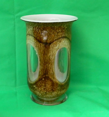 "Stunning Art Glass Brown Speckled with Clear Windows Pontil Mark Vase 11"" Tall"