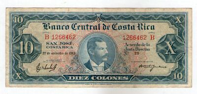 Costa Rica 1963 Issue Banco Central 10 Colones Ox Cart Tdlr  P-229