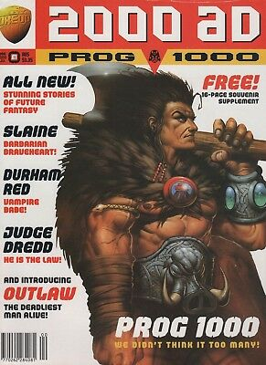 2000AD prog 1000 with free supplement! Dredd, Slaine, Durham Red! Free P&P!