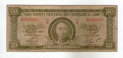 Costa Rica 1969 Banco Central 50 Colones  Tdlr  Issue  P-232
