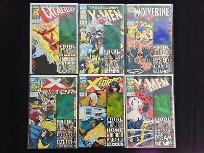 X-MEN FATAL ATTRACTIONS Lot of 6 Marvel Comic Bks - Set - Wolverine #75 Dbl Cvr!