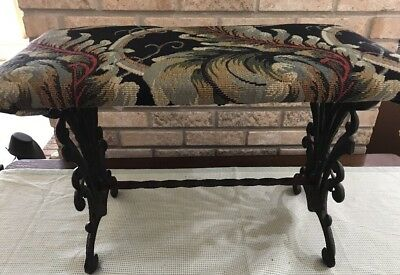 """Antique Victorian Vintage Cast Iron French Vanity Bench Art Deco Tapestry 24"""""""