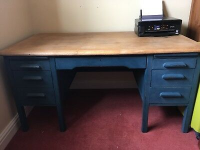 Large Old style teacher's twin pedestal desk. Shabby Chic Vintage painted pine.