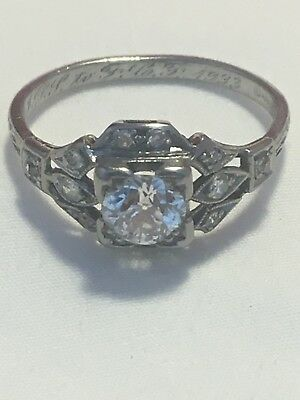 Vintage platinum ANTIQUE ART DECO RETRO 1920's DIAMOND ENGAGEMENT FILIGREE ring