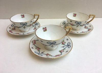 Set of 3 Crown Staffordshire - BLUE BOW - Cups and Saucers - circa 1910