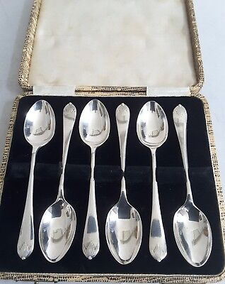 Good Cased Set 6 Vint. Solid Silver Q. Anne Pattern Tea-Spoons. Sheff. 1925.