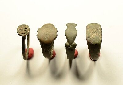 Lot Of 4 Roman / Medieval Decorated Wearable Large Rings - Great Artifacts