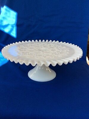 Fenton Cake Stand Milk Glass Spanish Lace Crimped Pedestal Plate Glass Vintage & FENTON CAKE Stand Milk Glass Spanish Lace Crimped Pedestal Plate ...