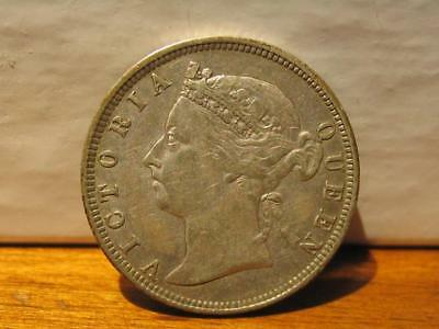 1891 Straits Settlements 20 Cent Silver Coin - Fine