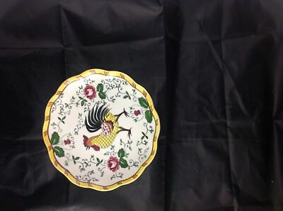 Rooster and Roses small pedestal cake plate