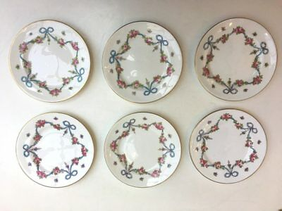 Set of 6 BLUE BOW - Crown Staffordshire - 6 inch Bread & Butter Plates - c.1910